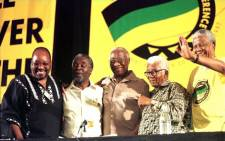 FILE: Jacob Zuma, Thabo Mbeki, Govan Mbeki, Walter Sisulu and Nelson Mandela after the final election of the new leaders of the ANC on 17 December 1997. Zuma was elected deputy president and Mbeki as president. Picture: AFP.