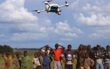 Children witness tests where unmanned aerial vehicles (UAVs) are used to reduce waiting times of infant HIV tests. Picture: Unicef.