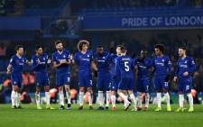 Chelsea players celebrate a goal during their penalty shootout with Tottenham Hotspur in their League Cup semifinal second leg match on 24 January 2019. Picture: @ChelseaFC/Twitter