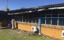 Residents' office at the Vaal University of Technology was set alight on 11 May 2016 evening during protest by angry students. Picture: Kgothatso Mogale/EWN.