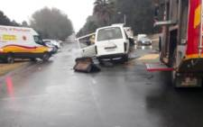 Two taxis and a truck collided, leaving two dead and 20 injured in Germiston on 9 July 2018. Picture: Twitter/@_ArriveAlive.