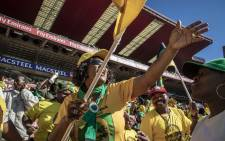 ANC supporters dance and sing at the Ellis Park Stadium as the show begins before speeches and dignitaries arrive. Picture: Thomas Holder/EWN.