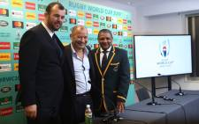 Australia head coach Michael Cheika (left) England head coach Eddie Jones and South Africa head coach Allister Coetzee (right) attend a news conference after the Rugby World Cup 2019 pool draw in Kyoto. Picture: Wallabies Facebook page.