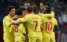 Liverpool players celebrate a goal in their Uefa Champions League match against Atletico Madrid at the Wanda Metropolitano Stadium in Madrid on 19 October 2021. Picture: @LFC/Twitter