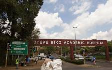 Born to Protect security guards protested outside the Steve Biko Academic Hospital on Monday, blocking the entrance with burning tyres and barbed wire in Pretoria. Picture: Sethembiso Zulu/EWN