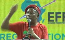 EFF leader Julius Malema addresses supporters on 4 March 2018.