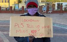 FILE: Homeless man protesting in Muizenberg. Picture: Eyewitness News.