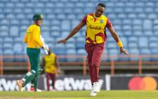 West Indies all-rounder Dwayne Bravo (front). Picture: @ICC/Twitter.