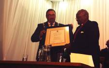 Archbishop Emeritus Desmond Tutu receives his honorary citizenship of Swellendam on 23 October, 2013. Picture: Chanel September/EWN