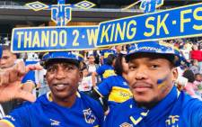 Constable Thando Sigcu and Sekhonyana Rakaota at a Cape Town City FC match. Picture: Supplied