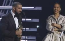 A screengrab of Drake presenting Rihanna with the Michael Jackson Video Vanguard Award at the MTV Video Music Awards.