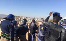 Police gear up to clear protesters in the Mahube Valley area in Mamelodi. Picture: Pelane Phakgadi/EWN