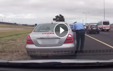 A screengrab of the video footage captured when Officer Nizaam Alexander was attacked on the N2.