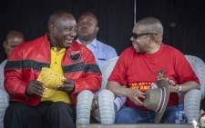 ANC President Cyril Ramaphosa and SACP general secretary Blade Nzimande at the Cosatu May Day rally at Sugar Ray Xulu stadium in Clermont, Durban. Picture: Abigail Javier/EWN.