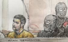 A court sketch made on 10 January 2019 shows Mehdi Nemmouche (L), accused of the terrorist attack at the Jewish Museum in Brussels in 2014, during his trial at the Brussels Justice Palace. Picture: AFP