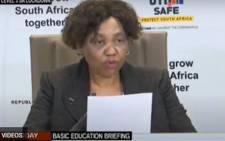 Basic Education Minister Angie Motshekga during school readiness briefing on 7 June 2020