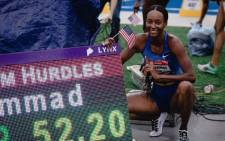 US athlete Dalilah Muhammad celebrates her world record in the women's 400m hurdles on 28 July 2019 at Des Moines. Picture: @usatf/Twitter