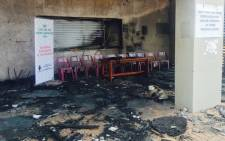 One of the burnt cafes at Howard Campus following student protests at the University of KwaZulu-Natal. Picture: Ziyanda Ngcobo/EWN.