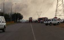 Emergency personnel at the scene of a fire at an aerosol factory in Kempton Park on 13 February 2013. Picture: Mbali Sibanyoni /EWN
