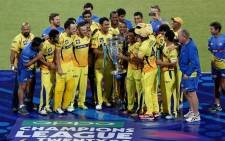 The Chennai Super Kings celebrating after they defeated Kolkata Knight Riders by eight wickets in the final of the Oppo CLT20 2014. Picture: www.clt20.com.