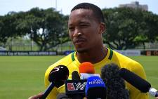 Bafana Bafana striker Lehlohonolo Majoro during practice on 31 January 2013. Picture: Aletta Gardner/EWN