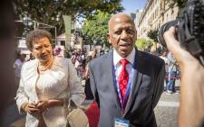 FILE: Mathews Phosa and his wife on the SONA red carpet on 9 February 2017. Picture: Aletta Harrison/EWN.