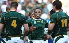Springbok winger Bryan Habana (centre) celebrates scoring a try at the 2007 Rugby World Cup. Picture: AFP