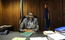 National Police Commissioner General Riah Phiyega is seen behind her desk in her Pretoria office. Picture: Taurai Maduna/EWN