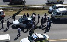 Police have arrested a group of men on the M1 south alleged to have been involved in a  string of robberies on 13 April 2015. Picture: Maliza‏@malizab.