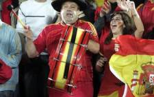 In full cry: Spain's most ardent supporter Manolo el del bombo spurs on the national soccer team. Picture: AFP