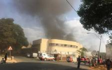 A factory that caught fire near Langlaagte in Johannesburg on Wednesday 18 September 2019. Picture: Edwin Ntshidi/EWN