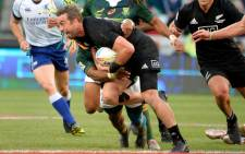 New Zealand's Kurt Baker is tackled during the HSBC World Rugby Sevens Series men's final between New Zealand and South Africa at the Cape Town Stadium. Credit: AFP