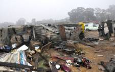A file picture of what was left after a shack fire at the Marathon Informal Settlement in Germiston, Johannesburg, on 2 September, 2012. Picture: Ekurhuleni Disaster & Emergency Services.