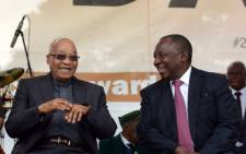 President Jacob Zuma and Deputy President Cyril Ramaphosa at the Giyani Stadium in Limpopo during Freedom Day celebrations on 27 April 2016. Picture: @MYANC via Twitter.
