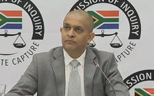 A screengrab of Eskom official Snehal Nagar appearing at the Zondo Commission on 5 March 2019.