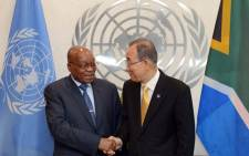 President Jacob Zuma meets with United Nations Secretary General Mr Ban Ki Moon ahead of the 71st United Nations General Assembly. Picture: GCIS.