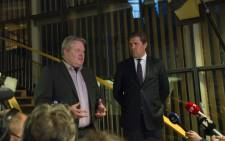 Icelands new prime mninster Sigurdur Ingi Johannsson of the Progressive Partys and Bjarni Benediktsson finance minister of the Independence Party address members of the media after a meeting Althingi, the parliament in Reykjavik, Iceland 6 April, 2016. Picture: AFP.