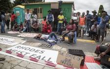 Roughly 20 students protested against a lack of spaces in residences at UCT by erecting a shack on campus. Picture: Thomas Holder/EWN