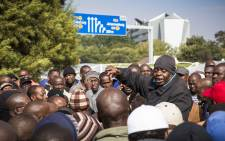 Metered taxi drivers meet at the OR Tambo Airport to discuss their way forward from after they blocked main roads to the airport in protest against Uber on 10 March 2017. Picture: Thomas Holder/EWN.