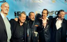 The surviving members of the Monty Python troupe at the Ziegfield Theatre on 15 October 2009. From left are: John Cleese, Terry Jones, Terry Gilliam, Eric Idle and Michael Palin. Picture: AFP.
