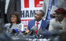 MDC Alliance leader Nelson Chamisa addresses the press on the elections thus far, stating they have been rigged. Thomas Holder/EWN
