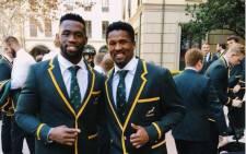 Springboks captain Siya Kolisi (L) with Sikhumbuzo Notshe. Picture: @notshe8/Twitter