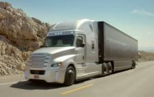 Screengrab picture of self-driving truck during testing in Nevada, US.