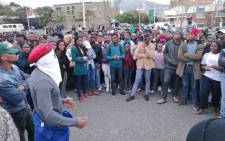 Students gather outside CPUT Cape Town campus. Picture: Kevin Brandt/EWN.