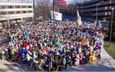 Television news video showed people dressed as bears, raccoons, tigers and other animals milling around outside the hotel after the evacuation. Picture: Midwest FurFest.