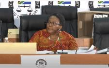 A screengrab of former Transport Minister Dipuo Peters appearing at the state capture inquiry on 17 March 2021. Picture: SABC/YouTube.