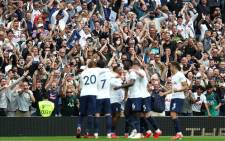 Tottenham players celebrate their goal against Manchester City during their English Premier League match on 15 August 2021. Picture: @SpursOfficial/Twitter