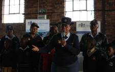 City of Ekhuruleni's Colonel Mthembu addresses children from Thokoza about safety and security. Picture: Kayleen Morgan/EWN