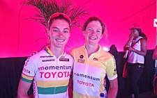 Ashleigh Moolman (R) winner of the Momentum 94.7 Cycle Challenge 2013 women's section with runner-up Sharon Laws. Picture: EWN