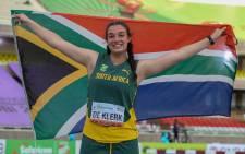 Mine de Klerk wins a gold medal in the women's shot put final at the World Athletics U20 Championships in Kenya, 21 August 2021. Picture: World Athletics/Dan Vernon.